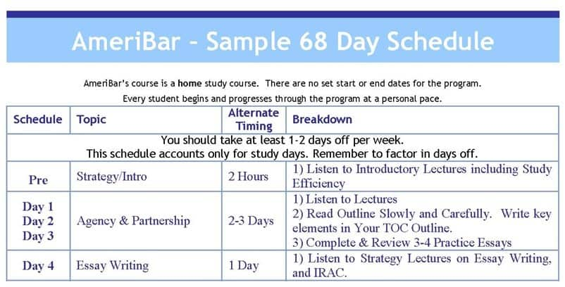 Sample Study Calendar | Ameribar